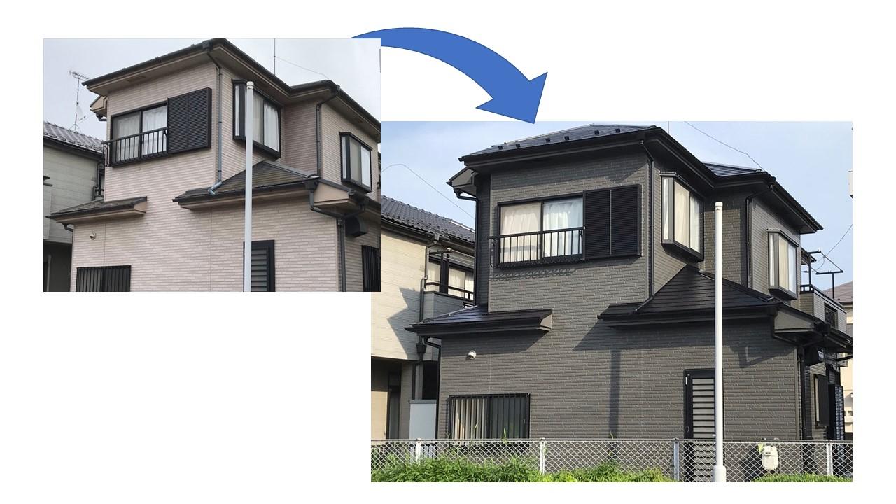 鴻巣市で屋根・外壁塗装工事前と後の写真