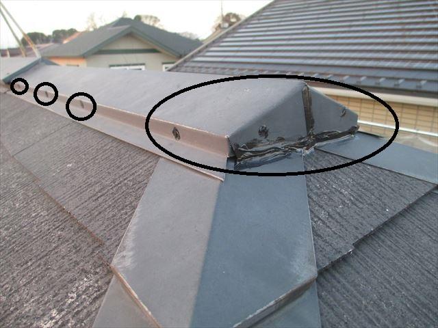 屋根棟板金浮き補修