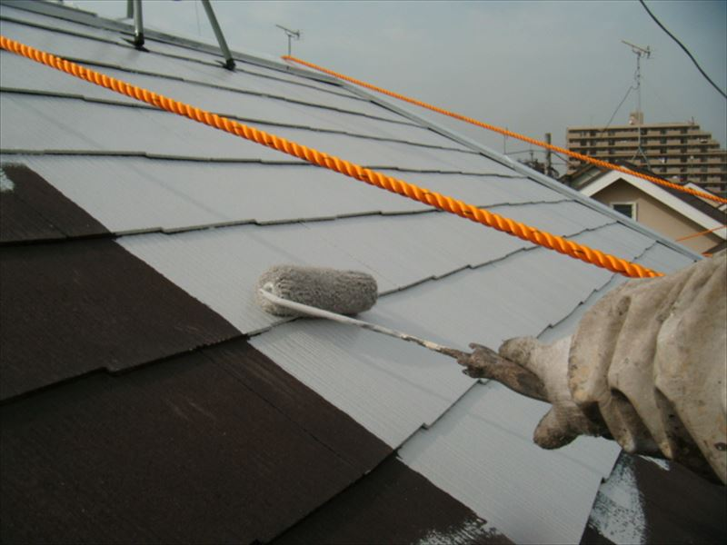 スレート屋根下塗り