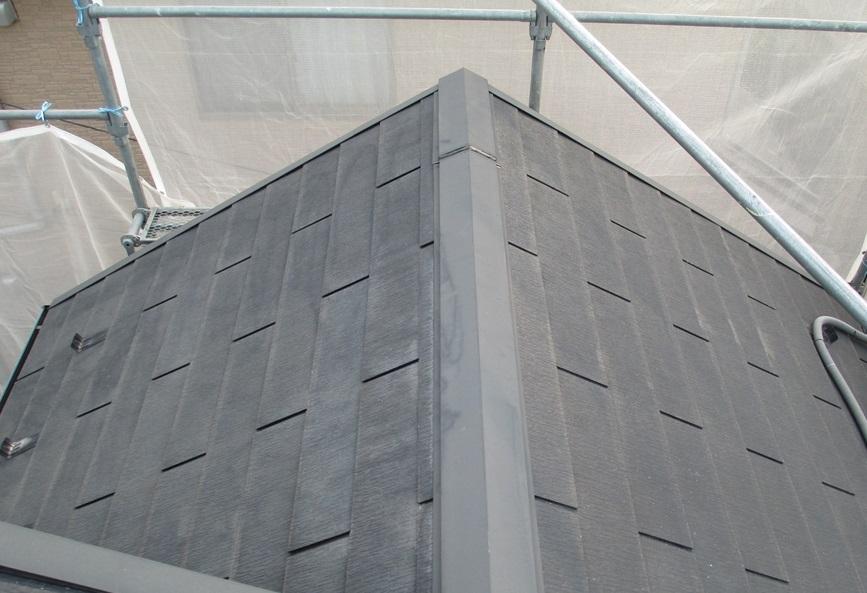 スレート屋根の高圧洗浄後
