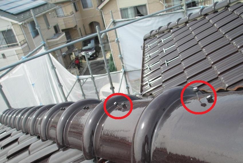 屋根目瓦止め釘の浮き