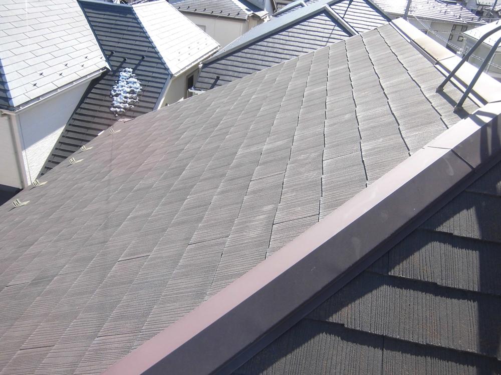 白岡市スレート瓦屋根南側の劣化