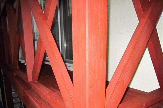 木製ベランダ下塗り1