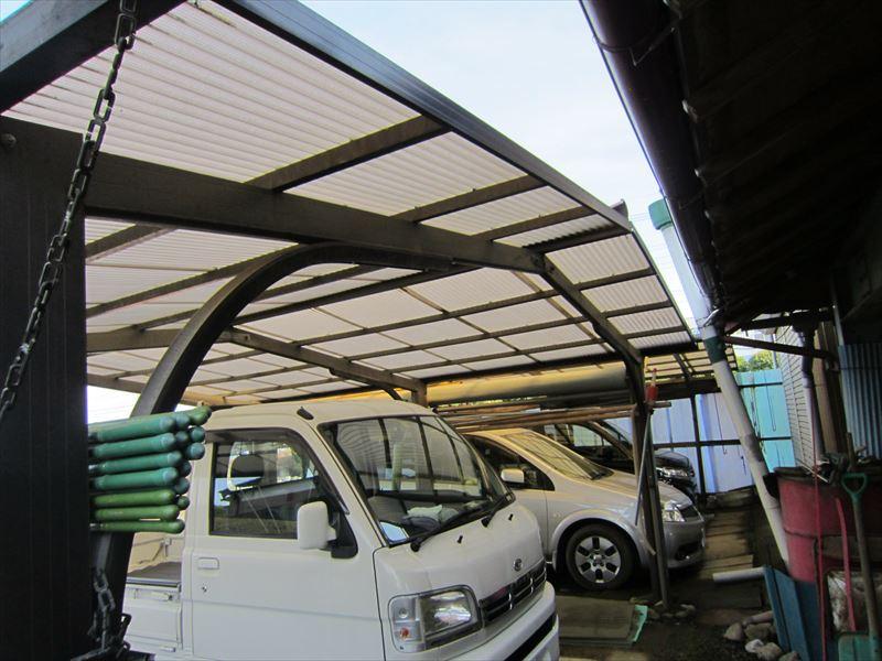 車庫の屋根撤去前