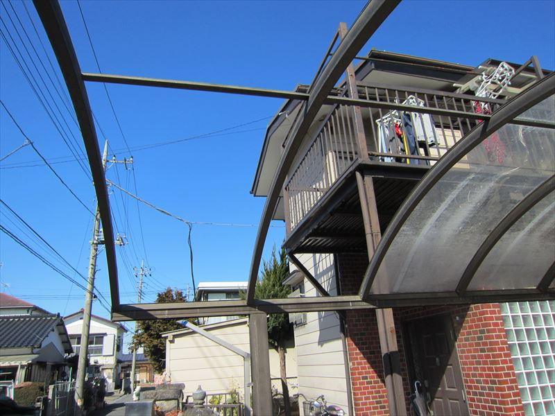 車庫屋根ボード移設