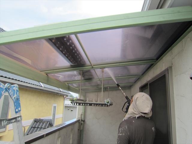 ベランダ屋根高圧洗浄2
