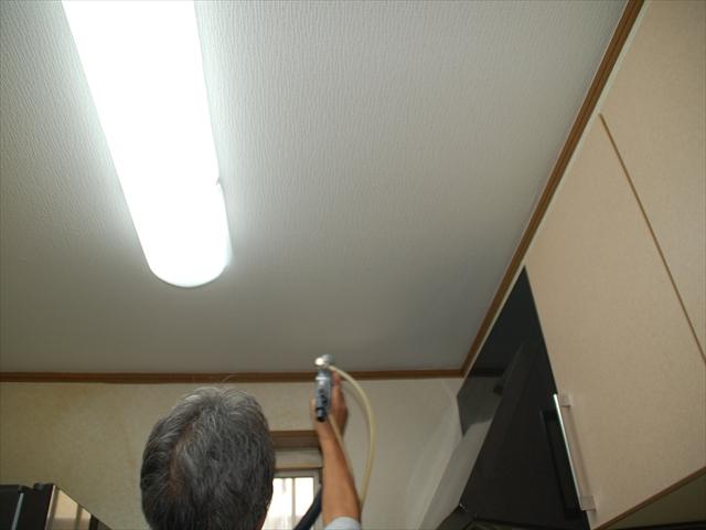 キッチン天井光触媒散布1