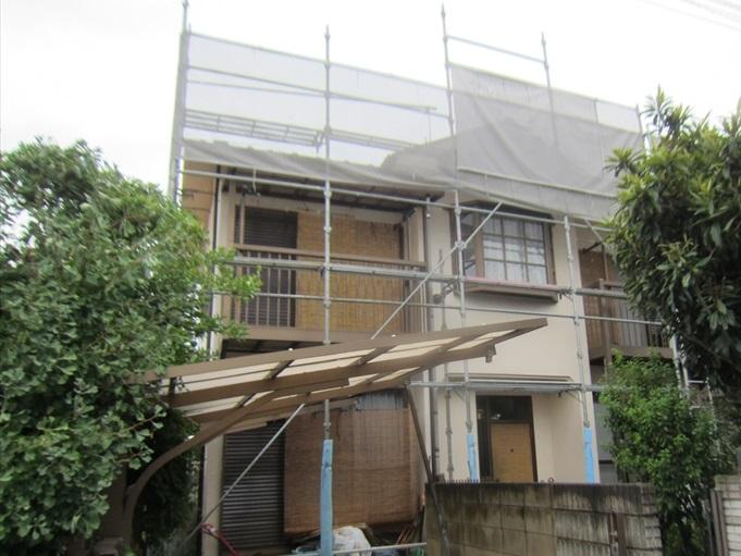 屋根塗装足場設置