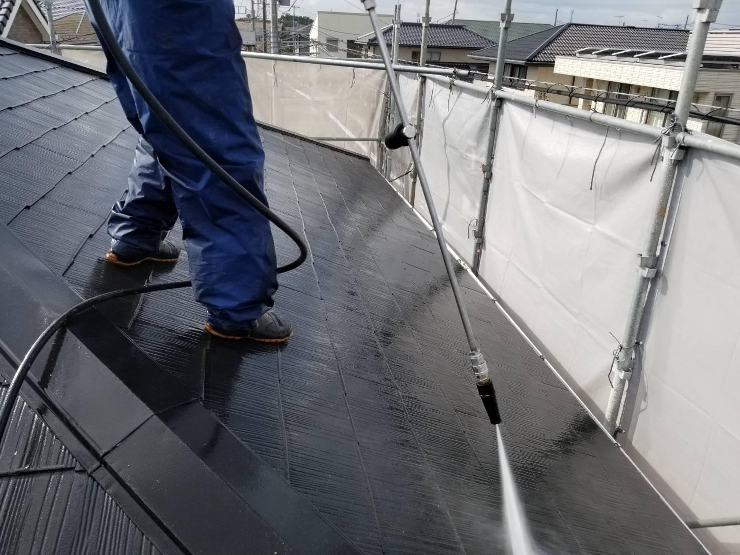 白岡スレート屋根高圧洗浄2