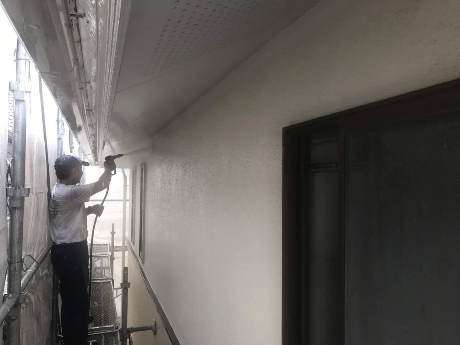 白岡モルタル外壁高圧洗浄