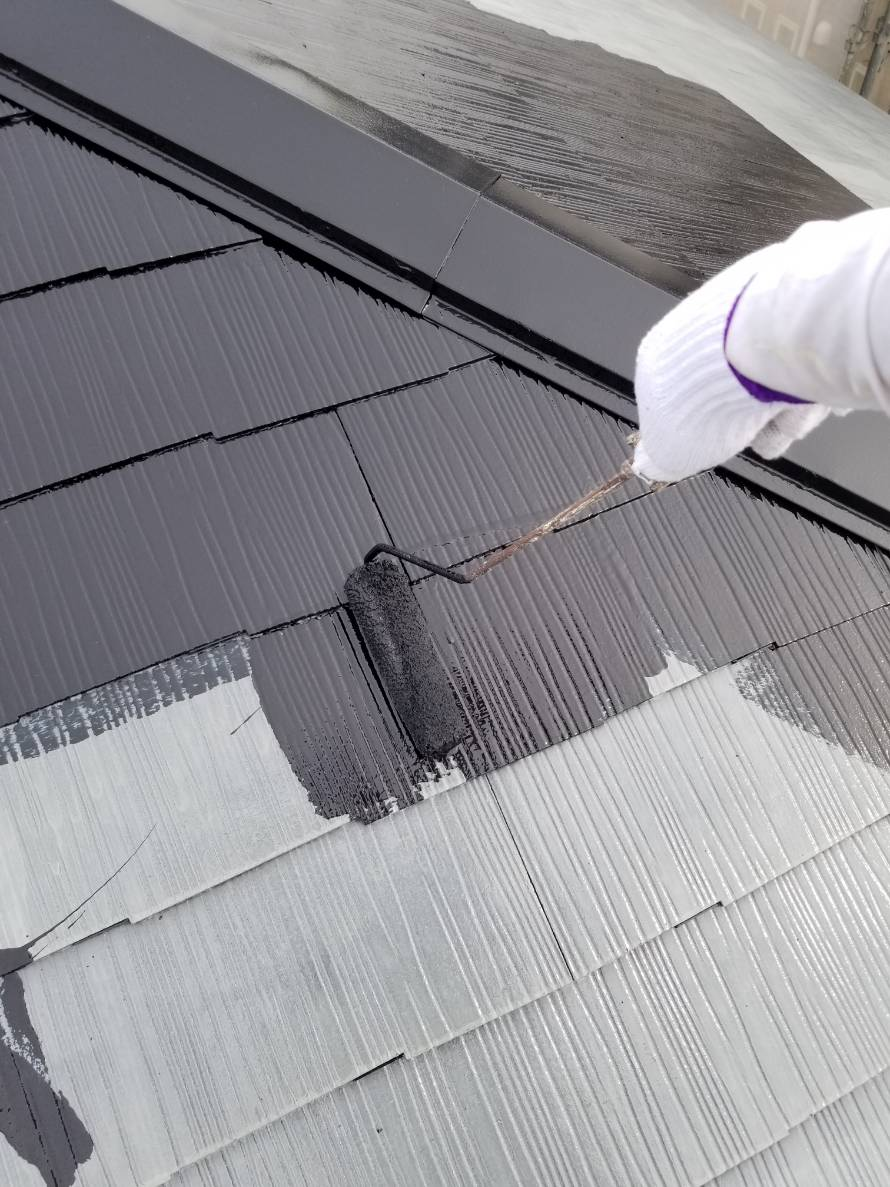 白岡屋根中塗り