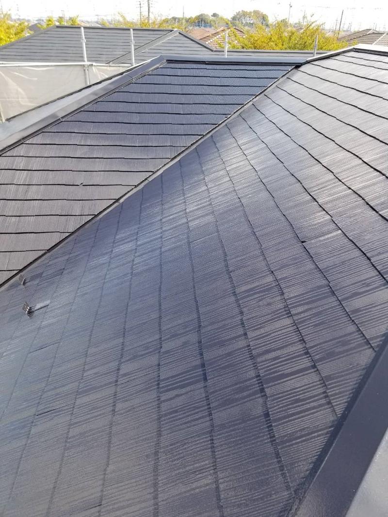 アステック「スーパーシャネツサーモSi」で白岡市スレート屋根上塗り完了2