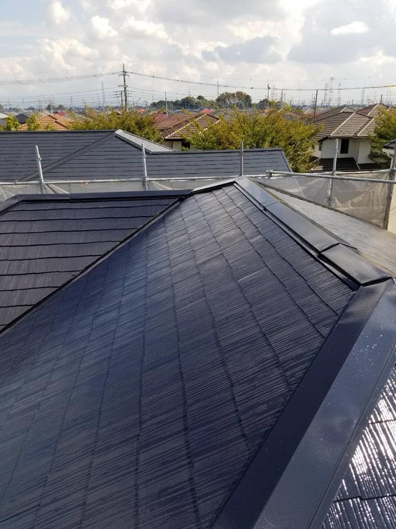 アステック「スーパーシャネツサーモSi」で白岡市スレート屋根上塗り完了