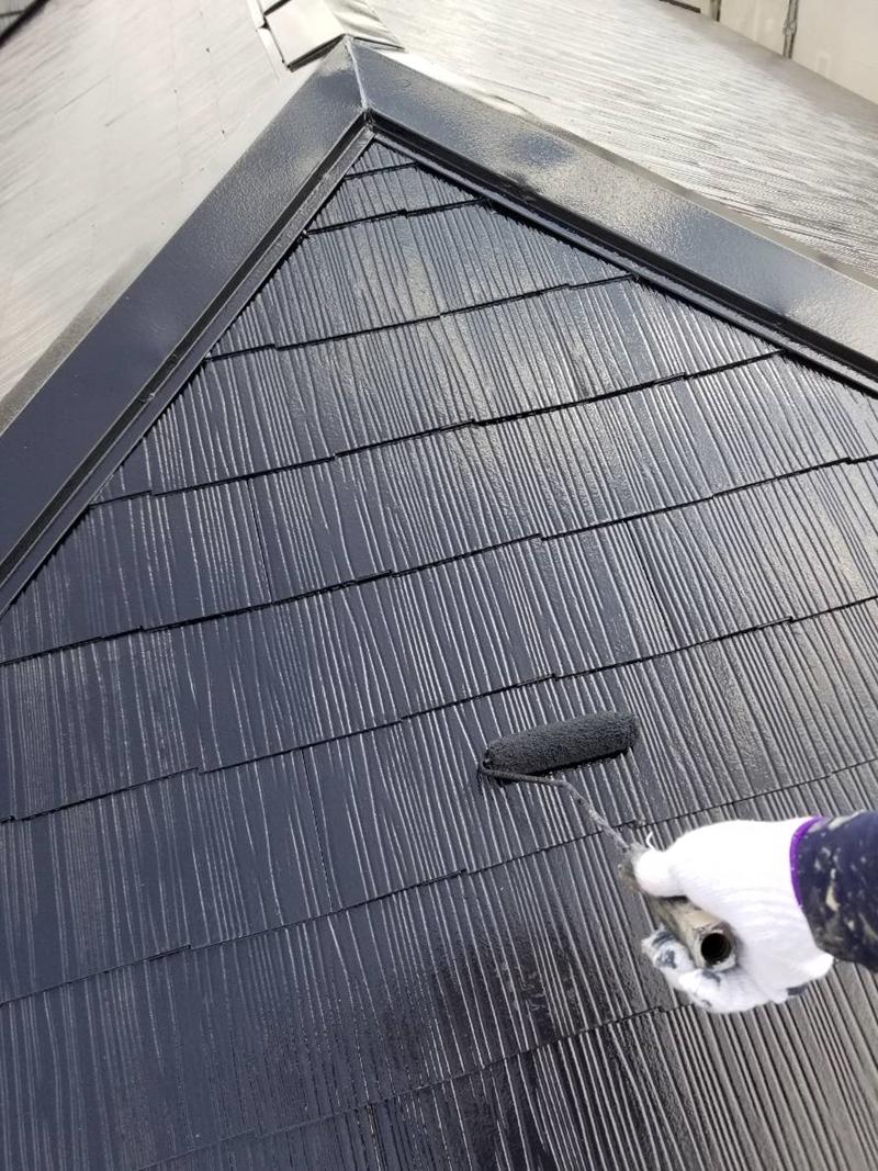 アステック「スーパーシャネツサーモSi」でスレート屋根上塗り