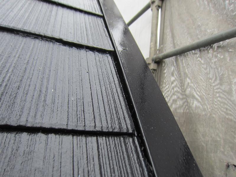 スレート屋根中塗り後のアップ