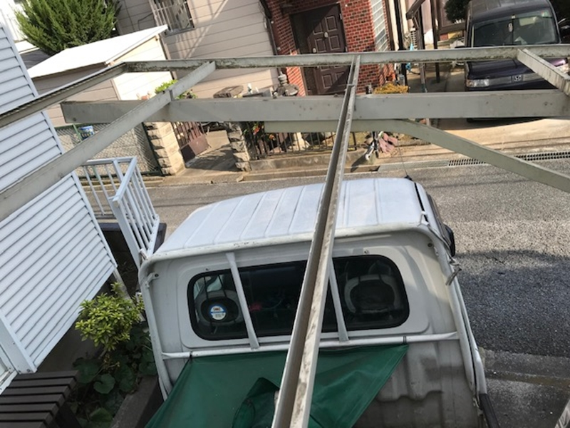 カーポート屋根波板外し完了
