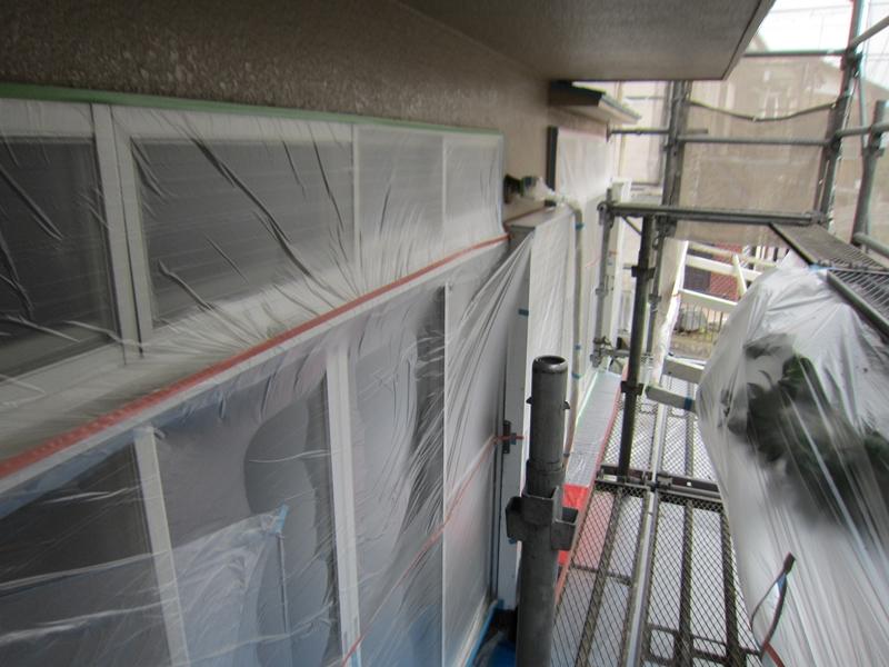 1階掃き出し窓養生