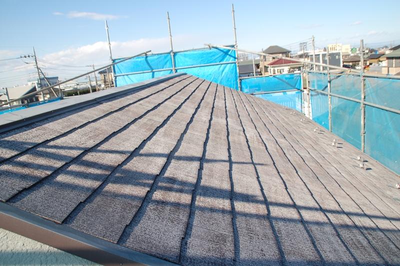 スレート屋根高圧洗浄後