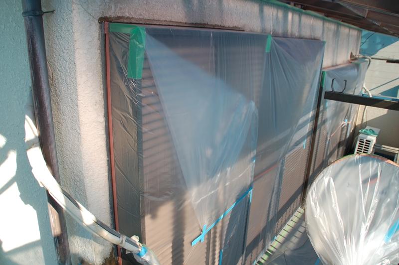 2階雨戸ボックス養生