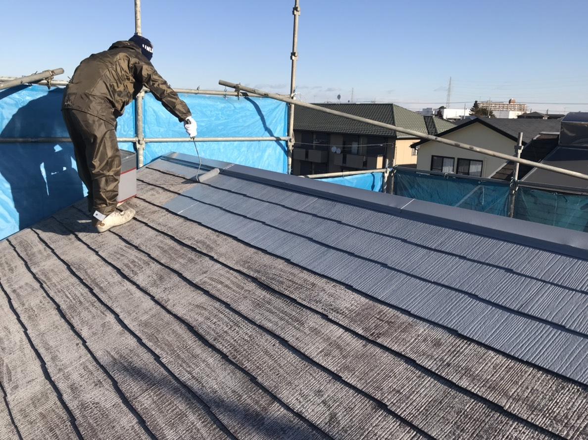 北本スレート屋根塗装下塗り