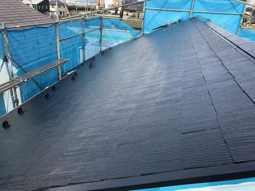 スレート瓦屋根上塗り完了