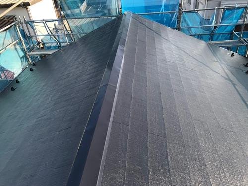 北本市スレート瓦屋根上塗り完了
