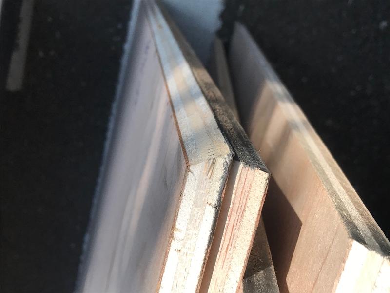 12mmコンパネ合板端を45°カット