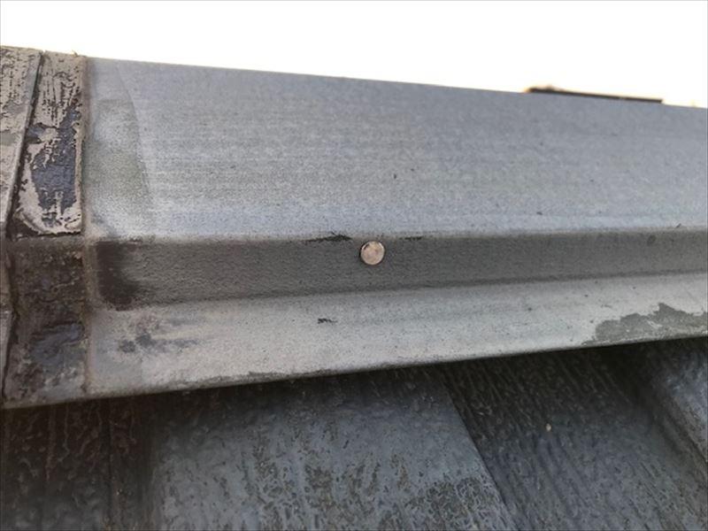 棟板金固定釘の浮き打ち直し