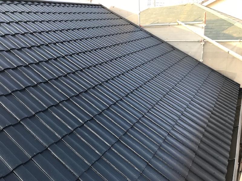 屋根遮熱塗装完成フッ素塗料