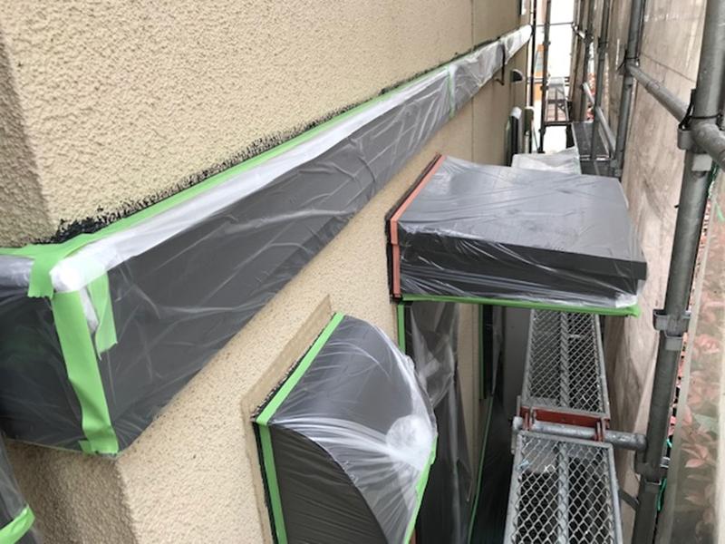 外壁塗装前養生作業