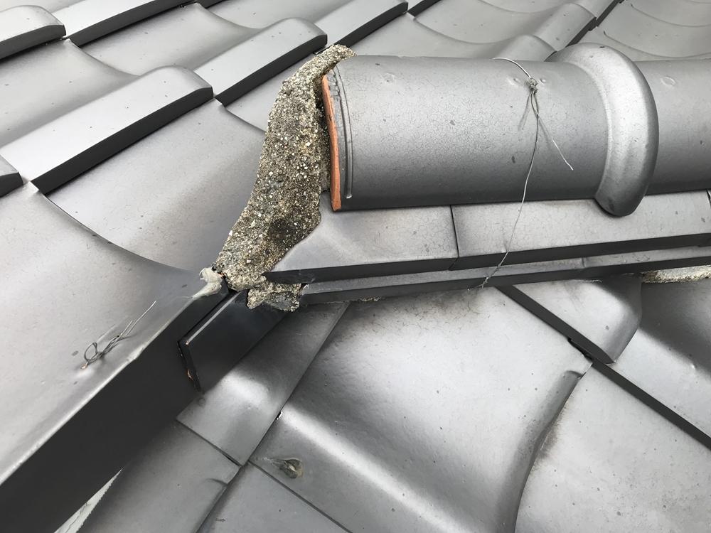 日本瓦屋根漆喰の劣化