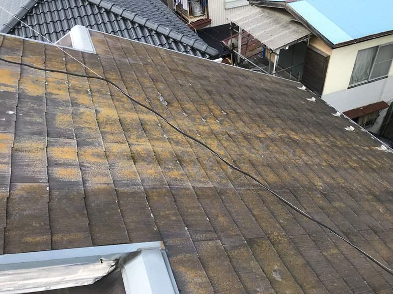 さいたま市岩槻区 スレート屋根の劣化状態北面西側
