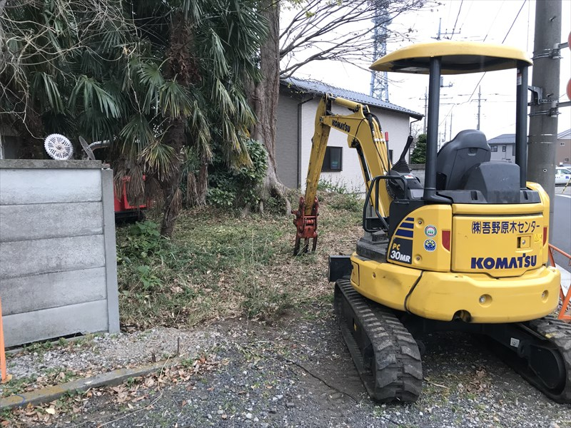 さいたま市北区高木伐採のため撤去した万年塀