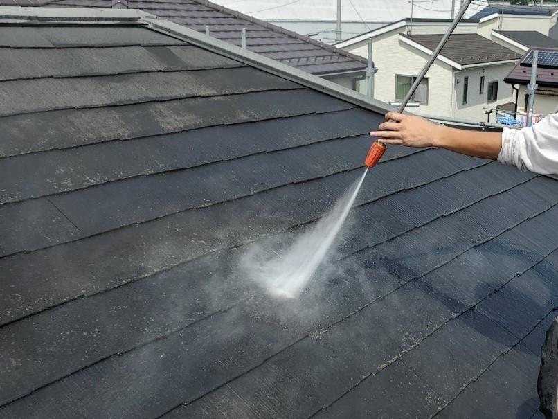 上尾市日の出町のスレート瓦屋根高圧洗浄