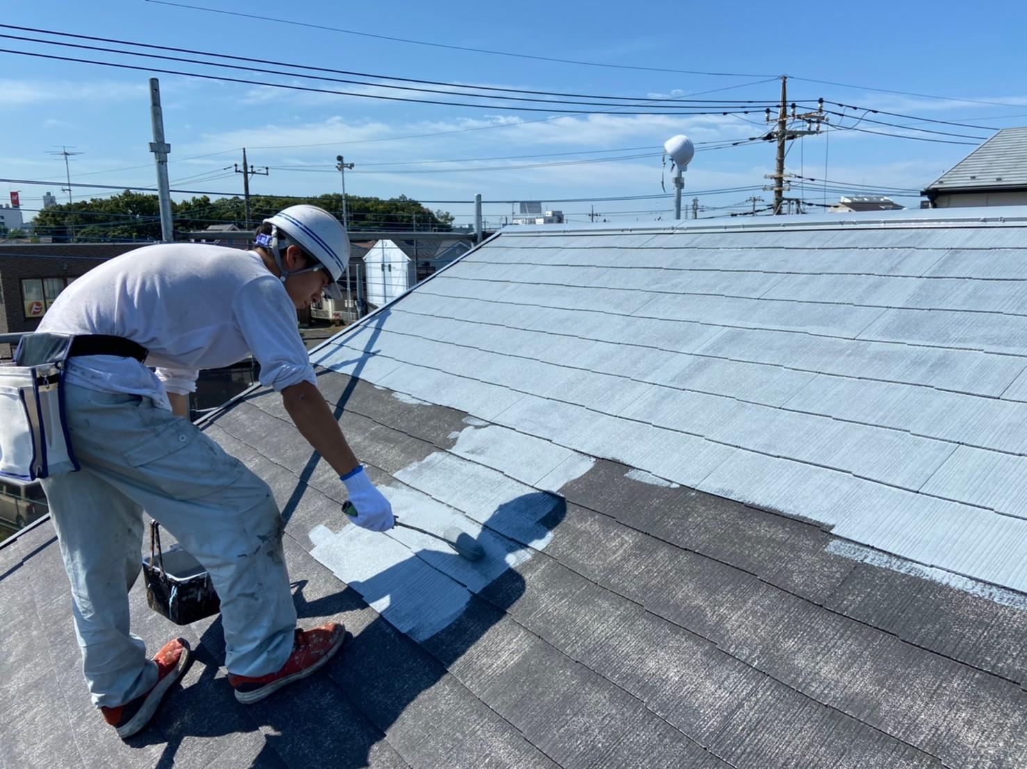 上尾市日の出屋根塗装下塗り