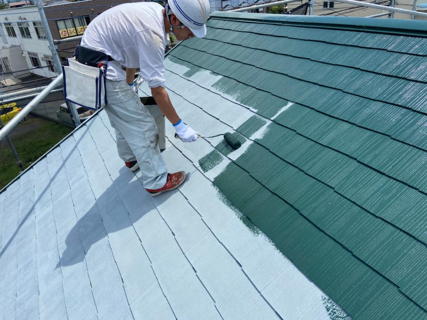 上尾市日の出屋根塗装中塗り