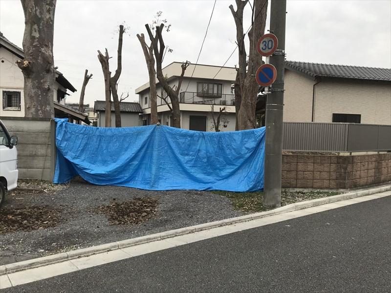 さいたま市北区撤去した万年塀の応急処置シート