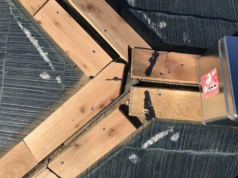 伊奈町棟板金交換工事新規貫板設置