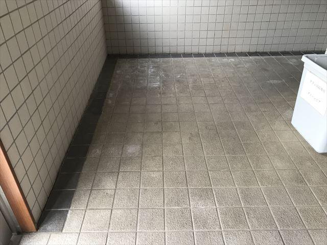 白岡市アパート玄関回りタイルの汚れ
