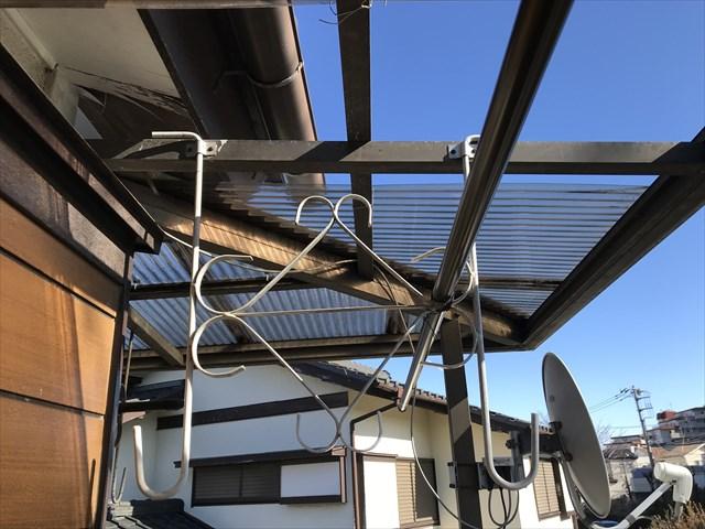蓮田市波板交換するベランダ屋根の設置状態確認