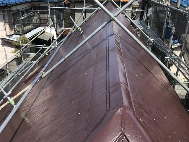 伊奈町スレート屋根にアステックスーパーシャネツサーモで中塗り完了