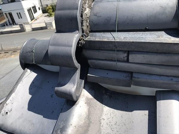 上尾市の瓦屋根熨斗瓦のずれ