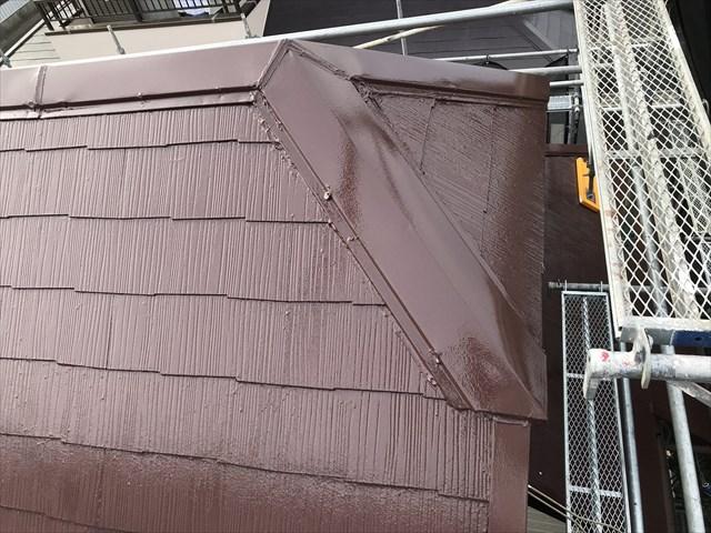 伊奈町急勾配スレート屋根の上塗り完了