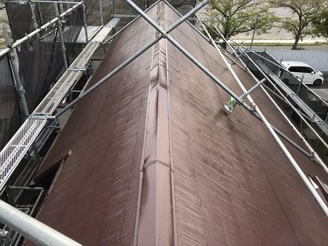 伊奈町急勾配スレート屋根をスーパーシャネツサーモで塗装後