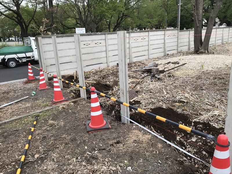 さいたま市北区万年塀の支柱設置場所決め