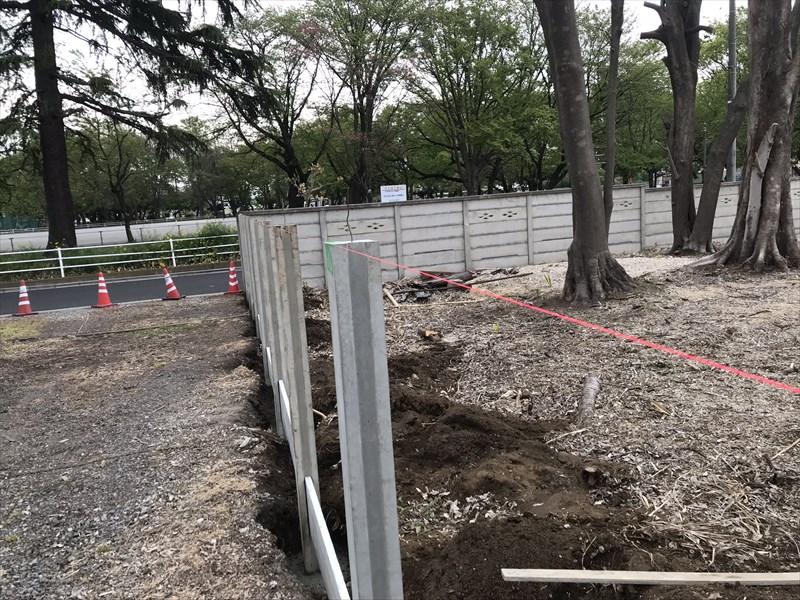 さいたま市北区万年塀の設置1日目終了