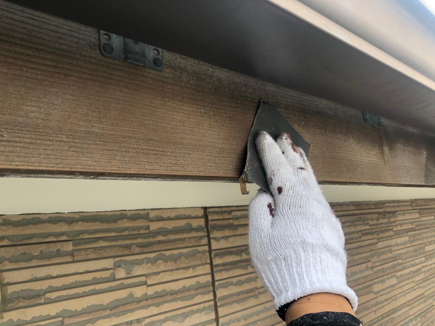 伊奈町外壁塗装付帯木製鼻隠し塗装ケレン作業