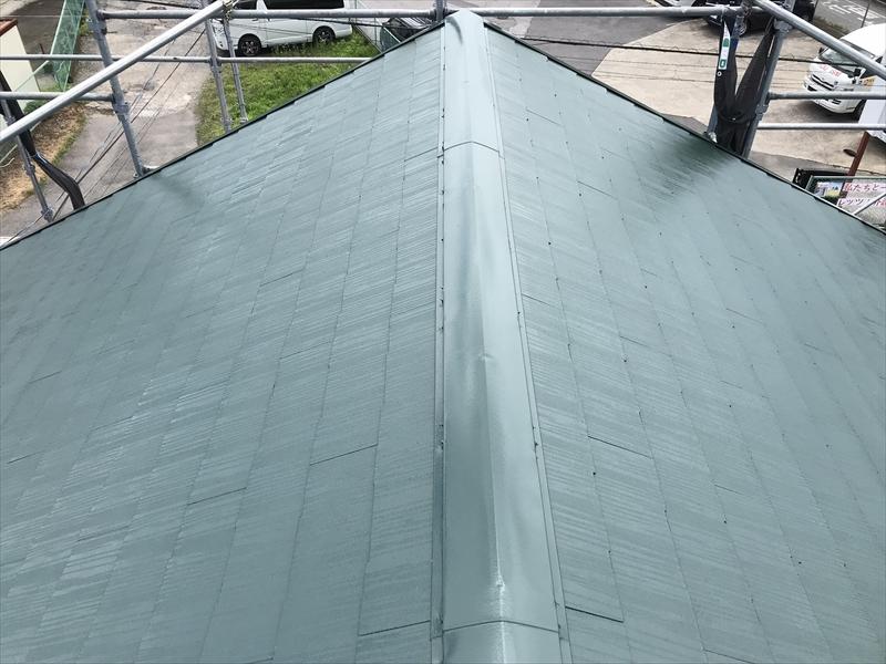 上尾市日の出遮熱塗料スーパーシャネツサーモSiで屋根塗装完了しきれいな艶