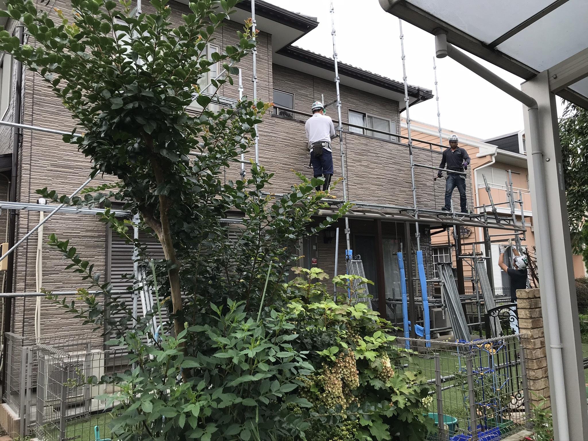 伊奈町外壁塗装の足場解体作業