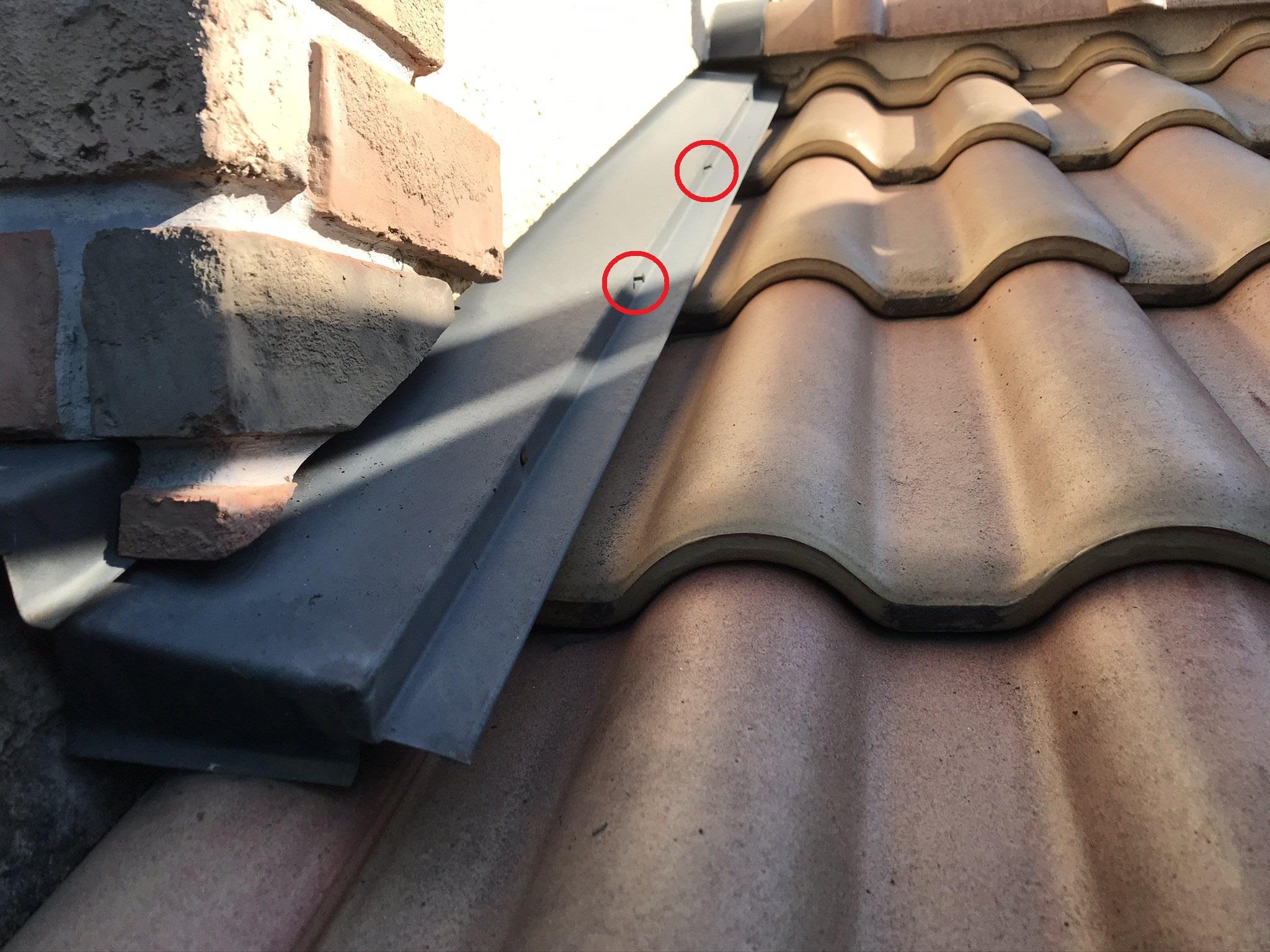 伊奈町瓦屋根端板金止め釘の浮き